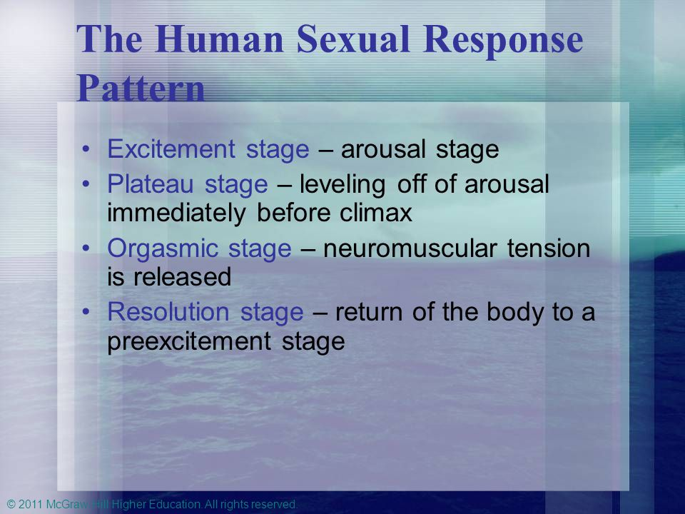 © 2011 McGraw-Hill Higher Education. All rights reserved. The Human Sexual Response Pattern Excitement stage – arousal stage Plateau stage – leveling