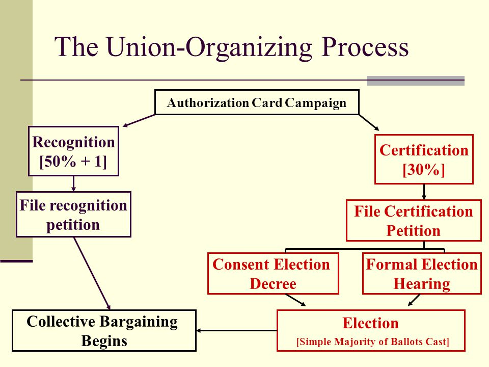 43 The Union-Organizing Process Authorization Card Campaign Recognition [50% + 1] Certification [30%] File recognition petition File Certification Pet
