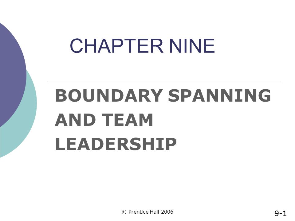 © Prentice Hall 2006 CHAPTER NINE BOUNDARY SPANNING AND TEAM LEADERSHIP 9-1