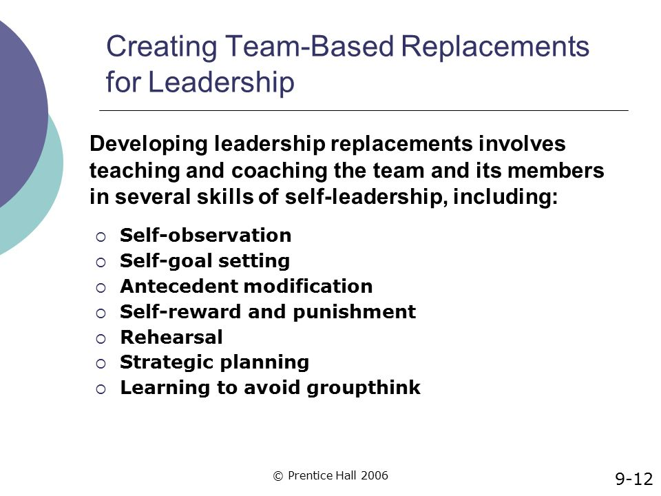 © Prentice Hall 2006 Creating Team-Based Replacements for Leadership  Self-observation  Self-goal setting  Antecedent modification  Self-reward an