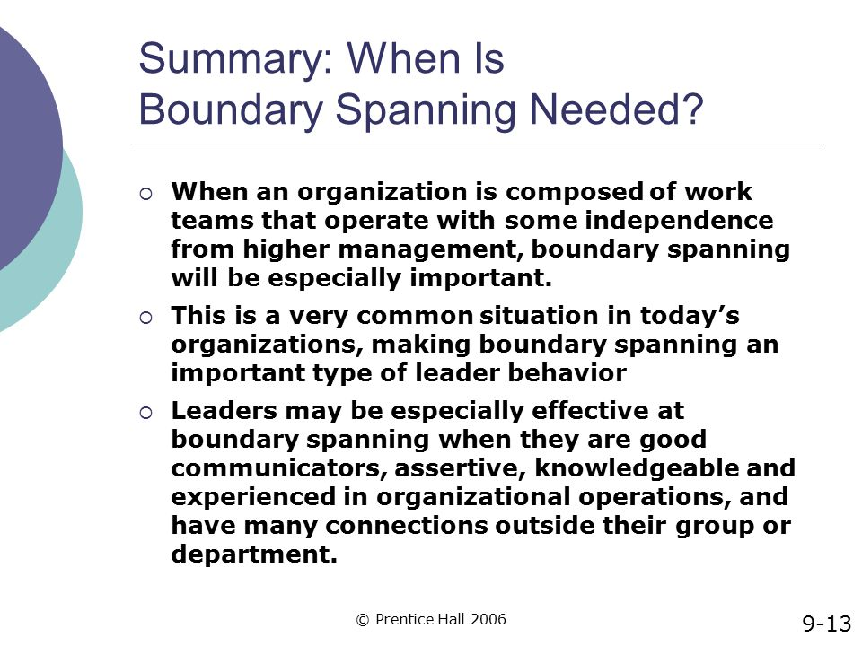 © Prentice Hall 2006 Summary: When Is Boundary Spanning Needed?  When an organization is composed of work teams that operate with some independence f