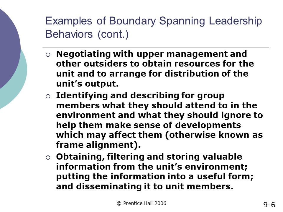 © Prentice Hall 2006 Examples of Boundary Spanning Leadership Behaviors (cont.)  Negotiating with upper management and other outsiders to obtain reso