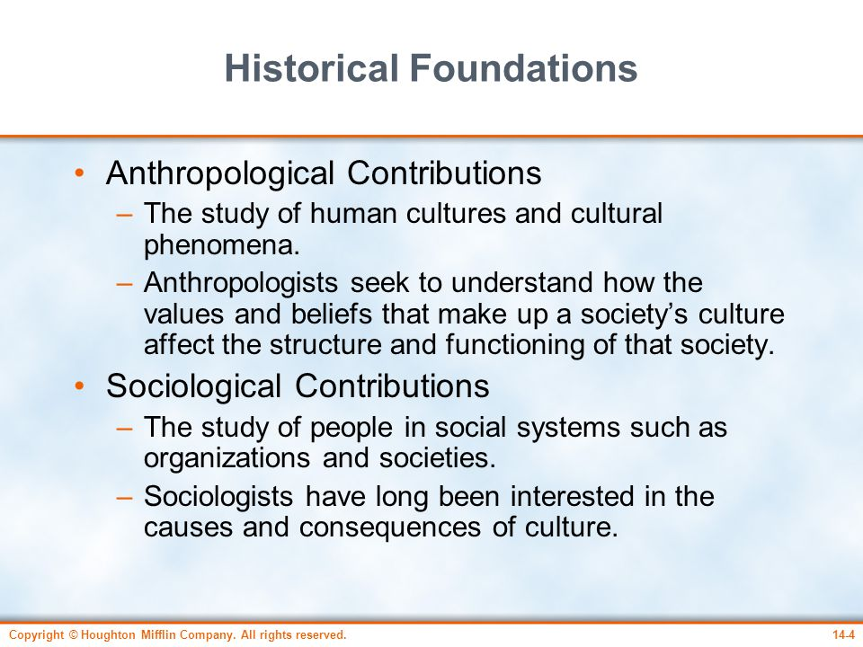 Copyright © Houghton Mifflin Company. All rights reserved.14-4 Historical Foundations Anthropological Contributions –The study of human cultures and c