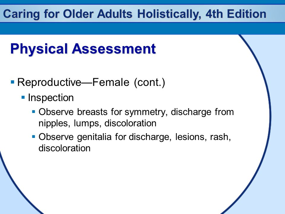 Caring for Older Adults Holistically, 4th Edition Physical Assessment  Reproductive—Female (cont.)  Inspection  Observe breasts for symmetry, discharge from nipples, lumps, discoloration  Observe genitalia for discharge, lesions, rash, discoloration