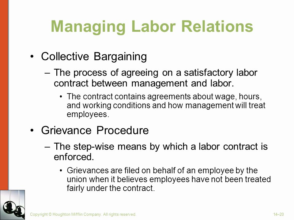 Copyright © Houghton Mifflin Company. All rights reserved.14–20 Managing Labor Relations Collective Bargaining –The process of agreeing on a satisfact