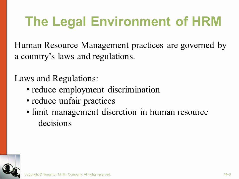 Major Responsibilities of HRM Plan for Staffing Needs Recruiting (Attract Qualified People) Selection (Hire the Best Employee) Training & Development Performance Appraisal Compensation & Benefits Copyright © Houghton Mifflin Company.