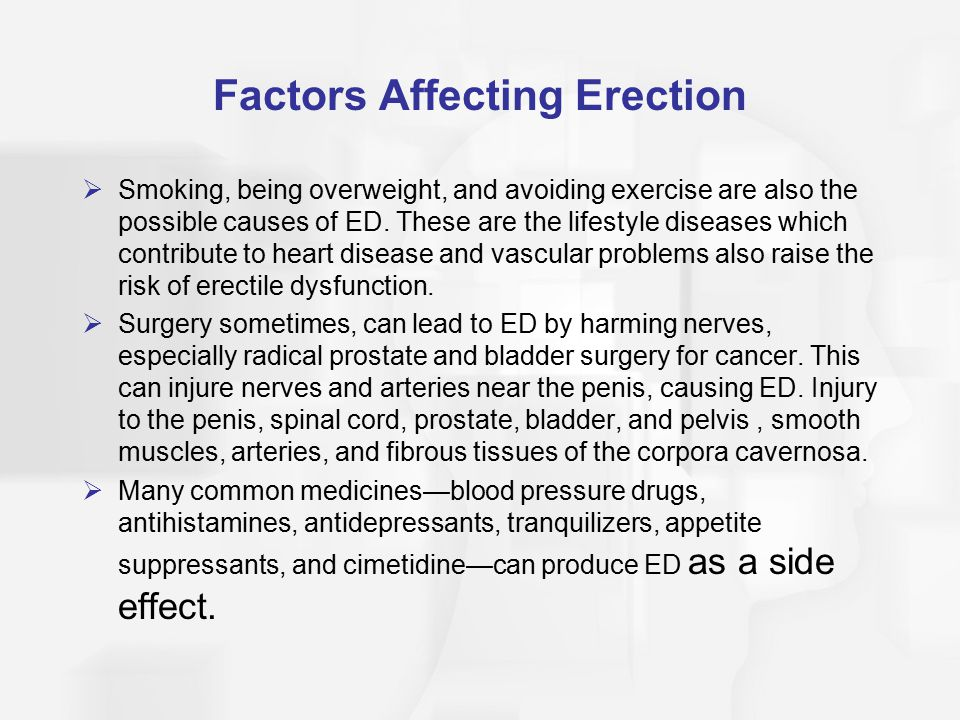 Factors Affecting Erection  Smoking, being overweight, and avoiding exercise are also the possible causes of ED.