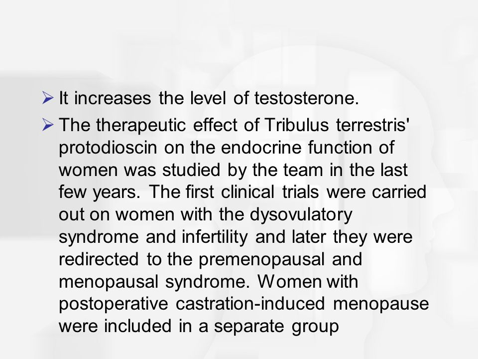  It increases the level of testosterone.  The therapeutic effect of Tribulus terrestris' protodioscin on the endocrine function of women was studied
