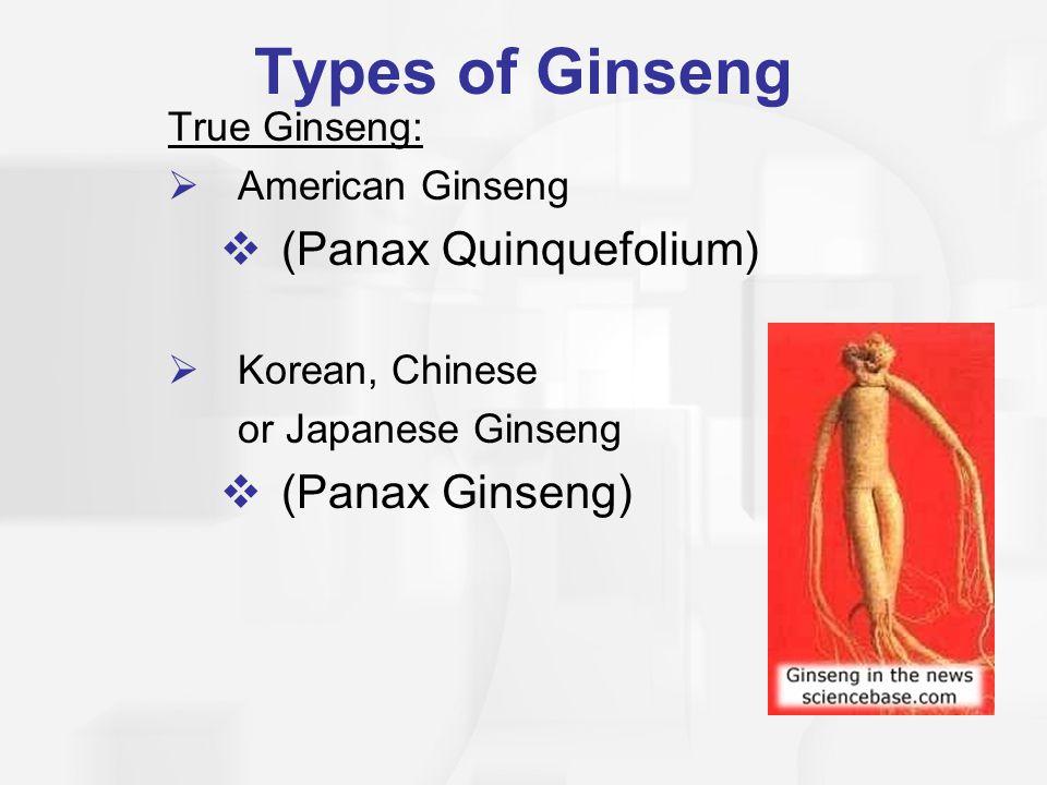 Types of Ginseng True Ginseng:  American Ginseng  (Panax Quinquefolium)  Korean, Chinese or Japanese Ginseng  (Panax Ginseng)