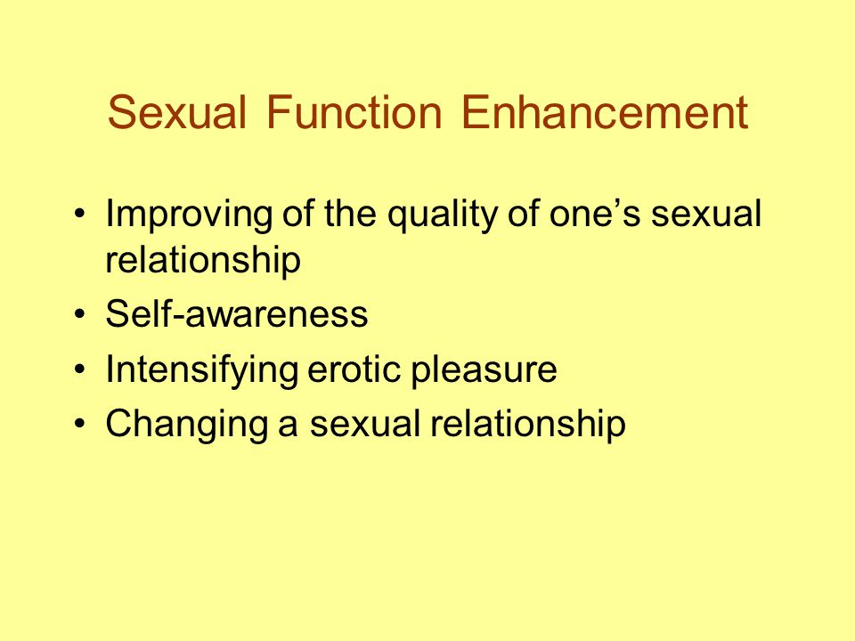 Sexual Function Enhancement Improving of the quality of one's sexual relationship Self-awareness Intensifying erotic pleasure Changing a sexual relati