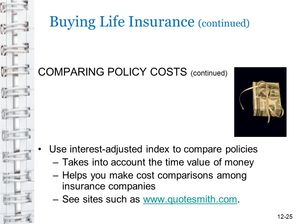 Buying Life Insurance (continued) COMPARING POLICY COSTS (continued) Use interest-adjusted index to compare policies –Takes into account the time valu