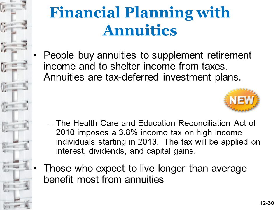 Financial Planning with Annuities People buy annuities to supplement retirement income and to shelter income from taxes. Annuities are tax-deferred in