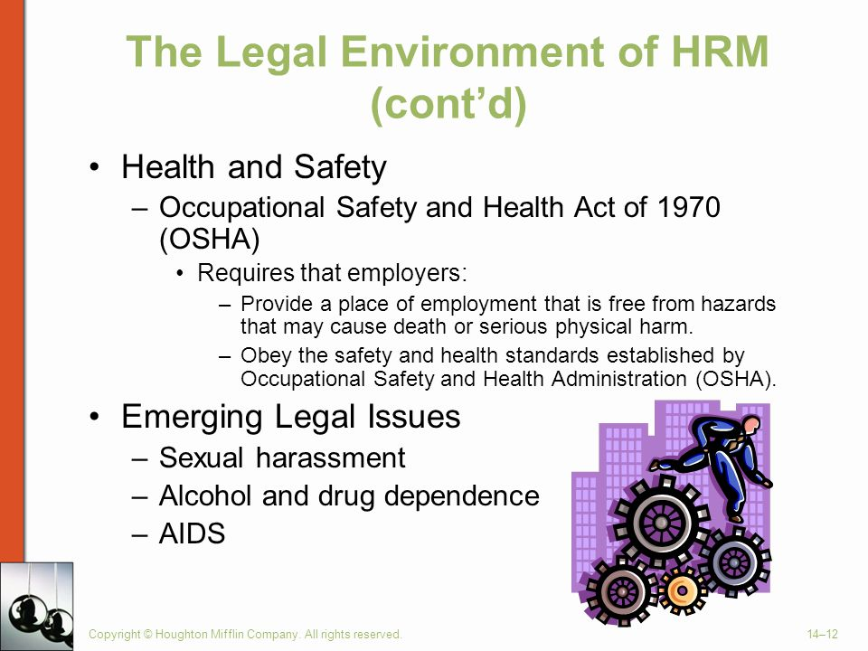 Copyright © Houghton Mifflin Company. All rights reserved.14–12 The Legal Environment of HRM (cont'd) Health and Safety –Occupational Safety and Healt
