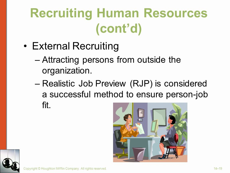 Copyright © Houghton Mifflin Company. All rights reserved.14–19 Recruiting Human Resources (cont'd) External Recruiting –Attracting persons from outsi