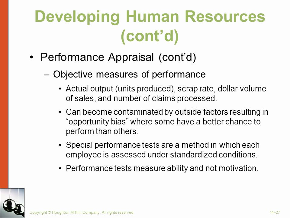 Copyright © Houghton Mifflin Company. All rights reserved.14–27 Developing Human Resources (cont'd) Performance Appraisal (cont'd) –Objective measures