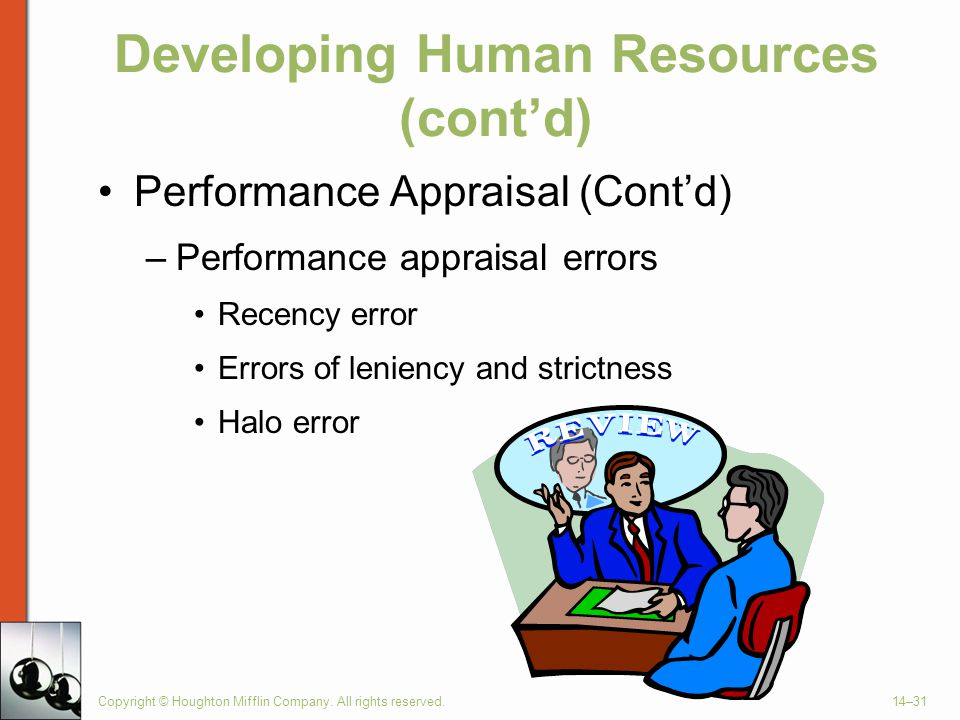 Copyright © Houghton Mifflin Company. All rights reserved.14–31 Developing Human Resources (cont'd) Performance Appraisal (Cont'd) –Performance apprai