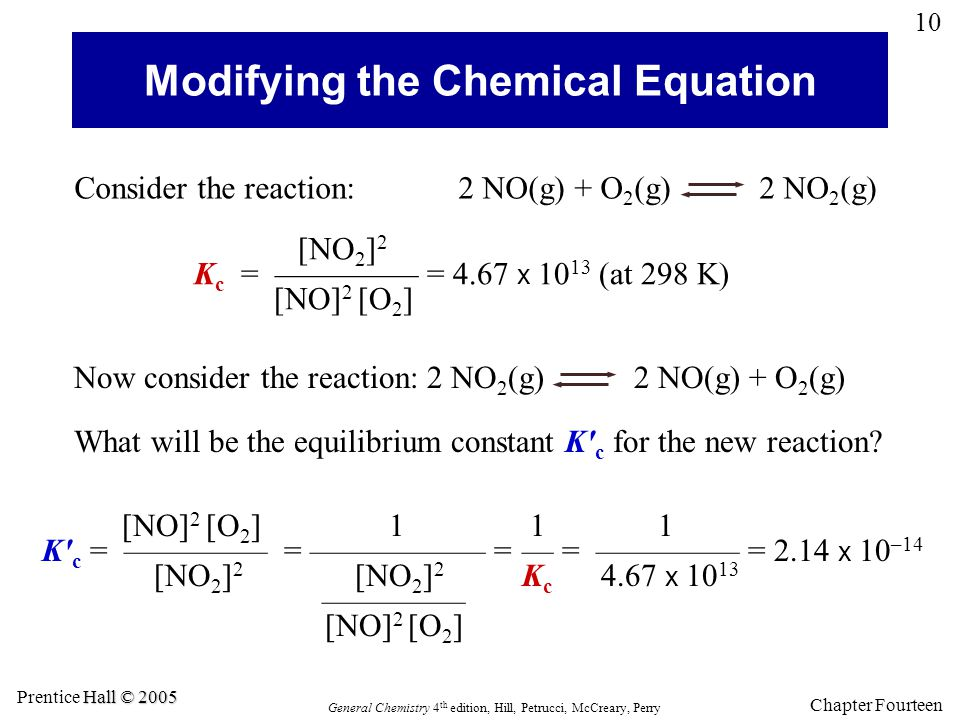 Chapter Fourteen 10 General Chemistry 4 th edition, Hill, Petrucci, McCreary, Perry Hall © 2005 Prentice Hall © 2005 Modifying the Chemical Equation W