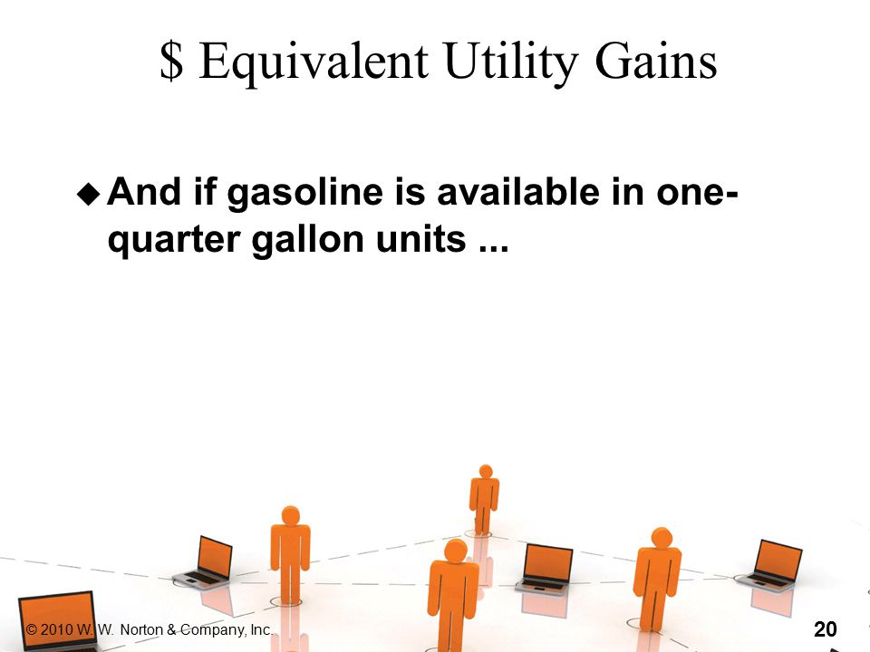 © 2010 W. W. Norton & Company, Inc. 20 $ Equivalent Utility Gains u And if gasoline is available in one- quarter gallon units...