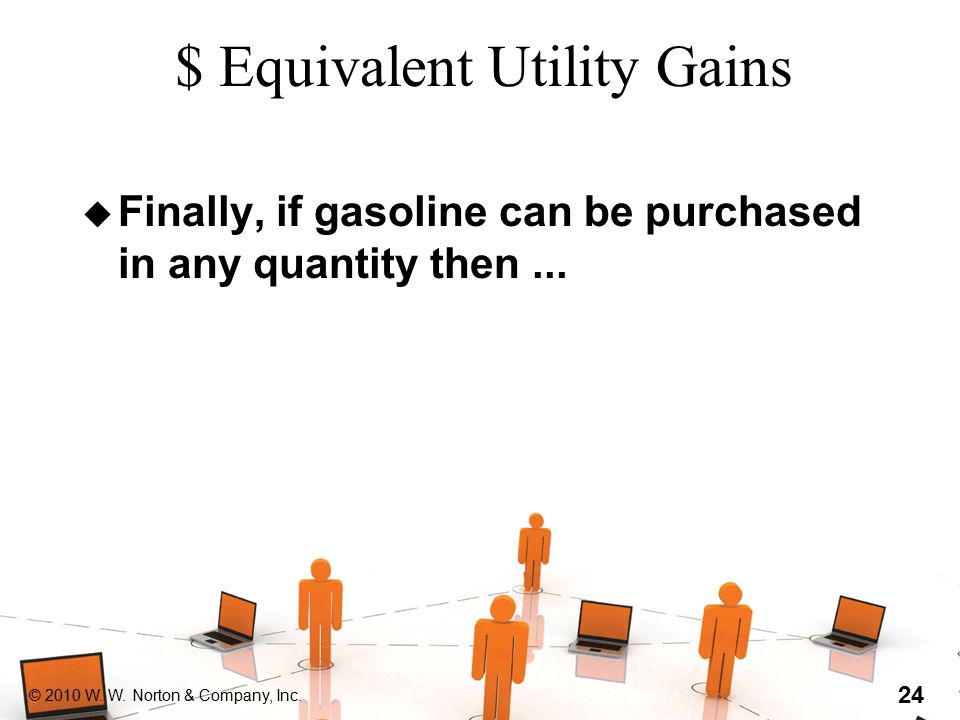 © 2010 W. W. Norton & Company, Inc. 24 $ Equivalent Utility Gains u Finally, if gasoline can be purchased in any quantity then...