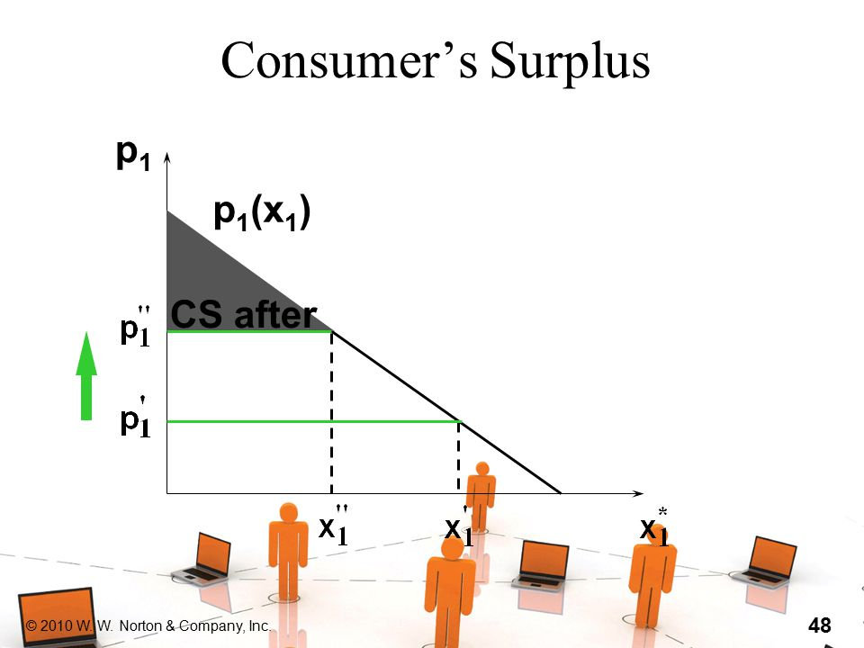 © 2010 W. W. Norton & Company, Inc. 48 Consumer's Surplus p1p1 CS after p 1 (x 1 )