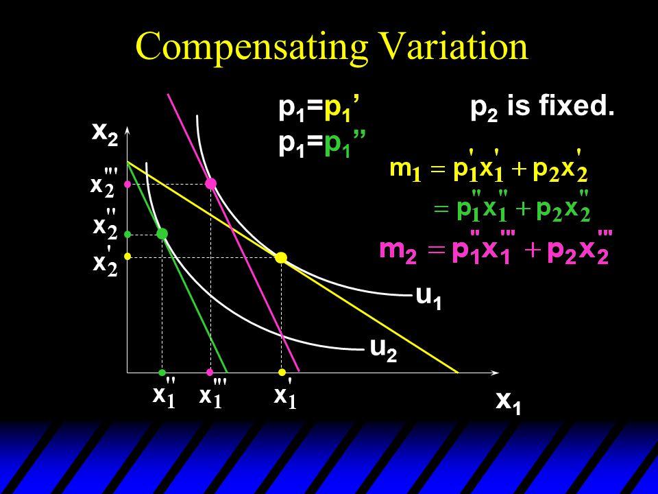 "Compensating Variation x2x2 x1x1 u1u1 u2u2 p1=p1'p1=p1""p1=p1'p1=p1"" p 2 is fixed."
