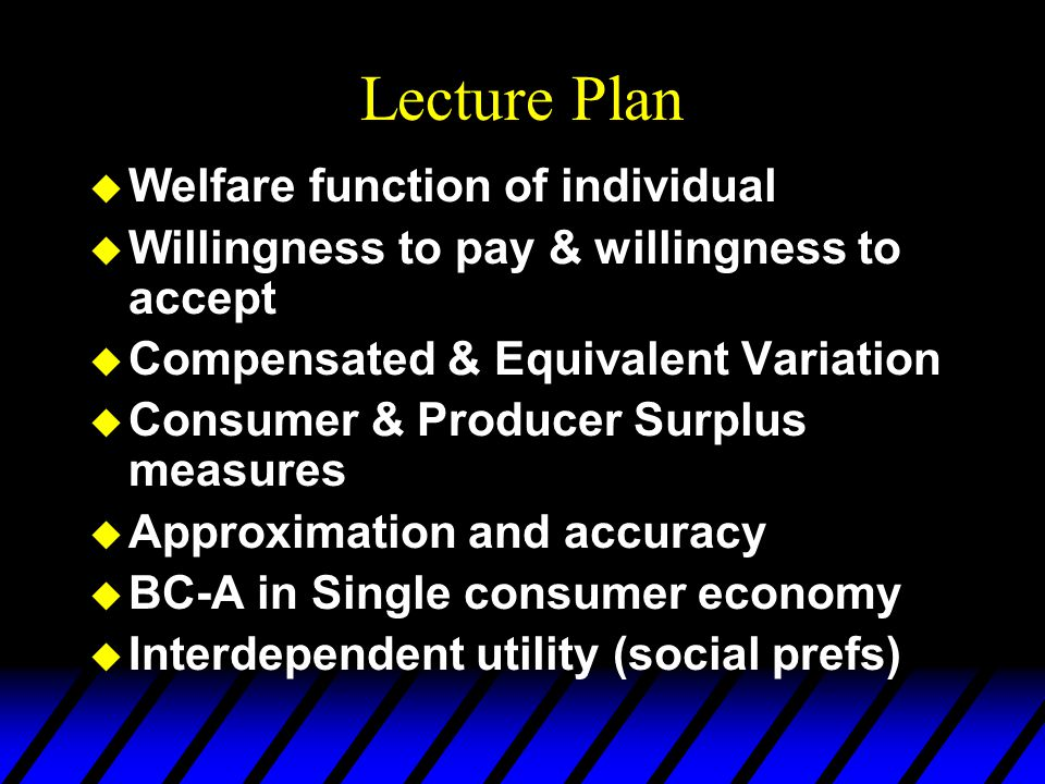 Lecture Plan  Welfare function of individual  Willingness to pay & willingness to accept  Compensated & Equivalent Variation  Consumer & Producer