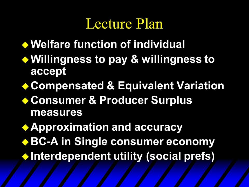 Welfare function of individual  Understanding 'economic man'  Utility:  Change: