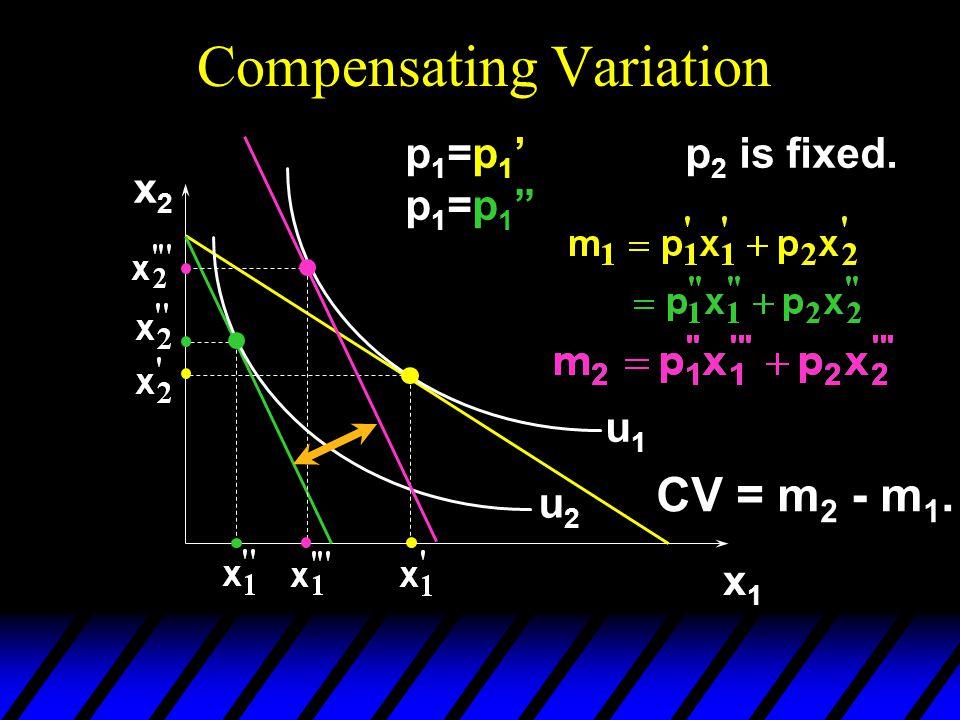 "Compensating Variation x2x2 x1x1 u1u1 u2u2 p1=p1'p1=p1""p1=p1'p1=p1"" p 2 is fixed. CV = m 2 - m 1."