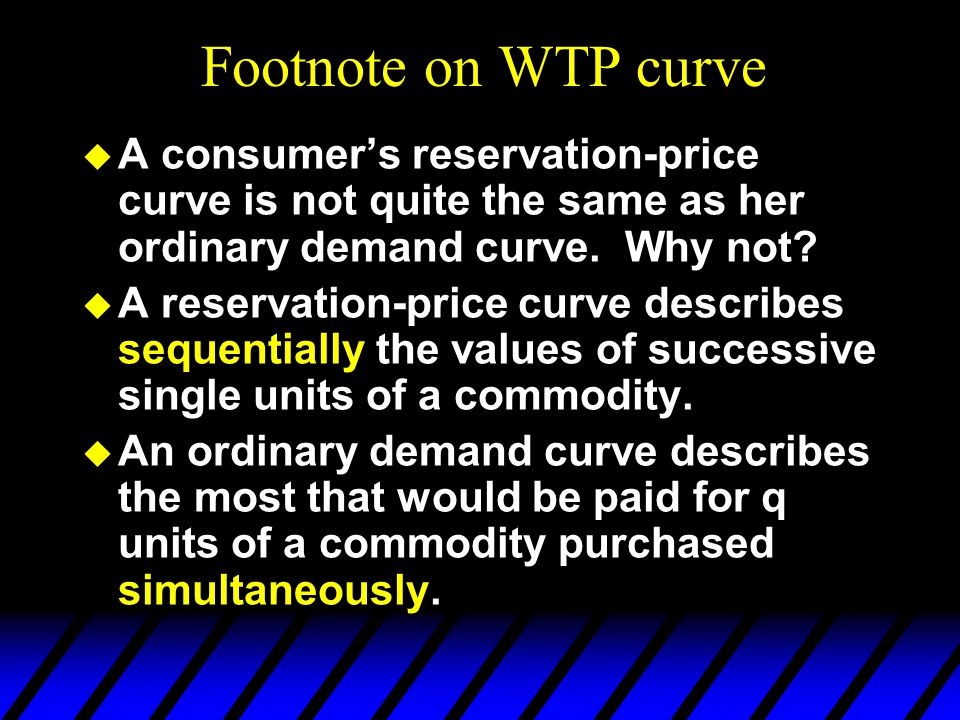  A consumer's reservation-price curve is not quite the same as her ordinary demand curve. Why not?  A reservation-price curve describes sequentially