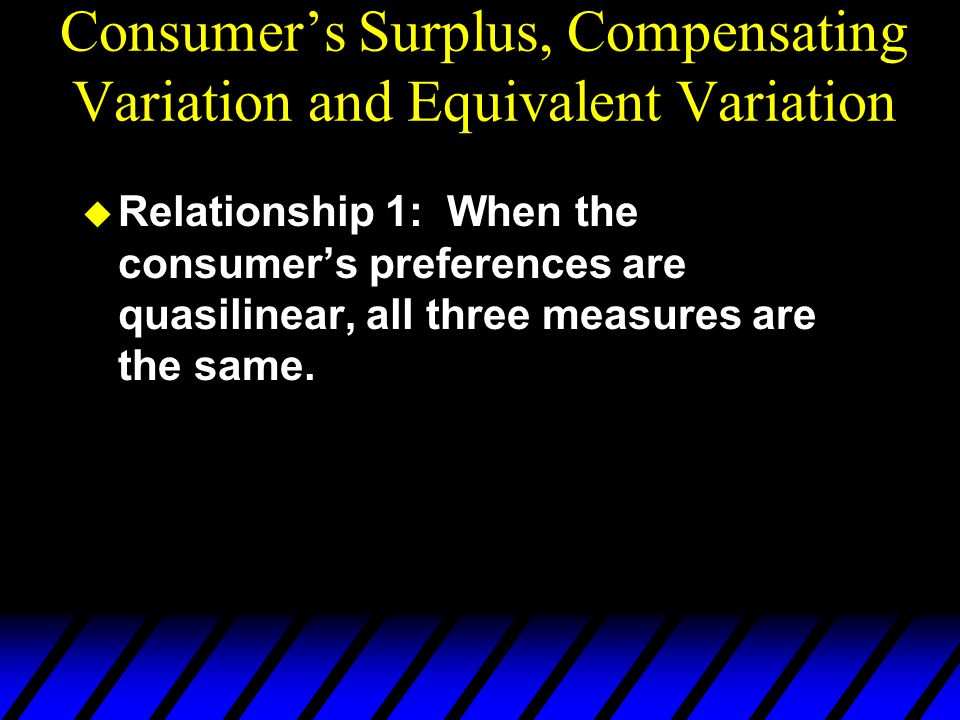  Relationship 1: When the consumer's preferences are quasilinear, all three measures are the same. Consumer's Surplus, Compensating Variation and Equ