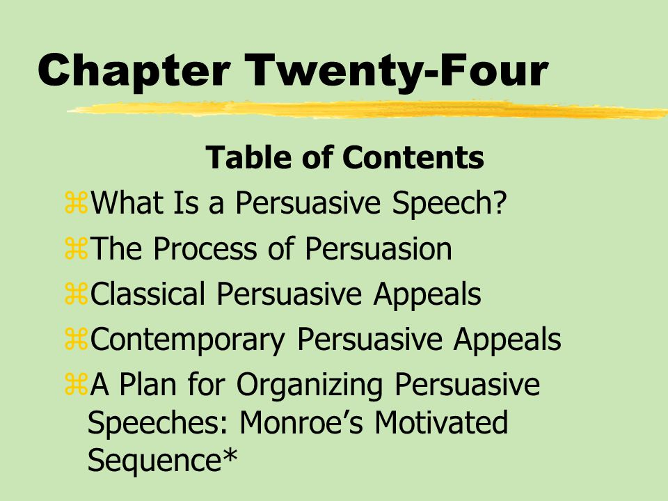 Chapter Twenty-Four Table of Contents zWhat Is a Persuasive Speech.