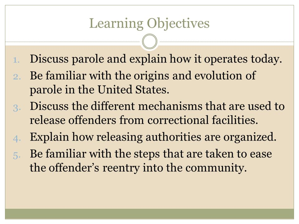 Learning Objectives 1. Discuss parole and explain how it operates today. 2. Be familiar with the origins and evolution of parole in the United States.