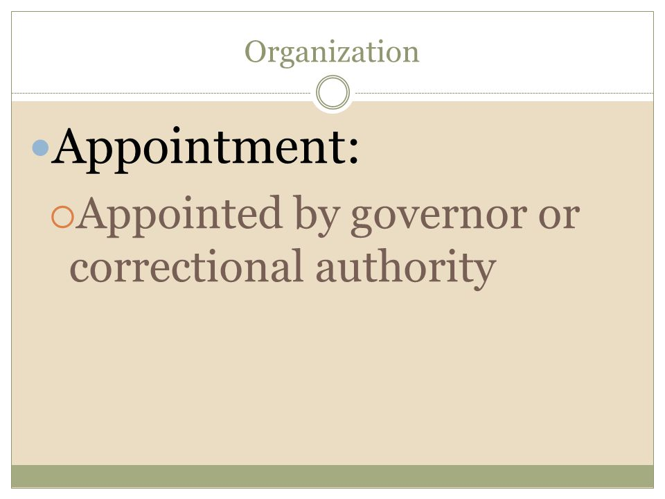 Organization Appointment:  Appointed by governor or correctional authority