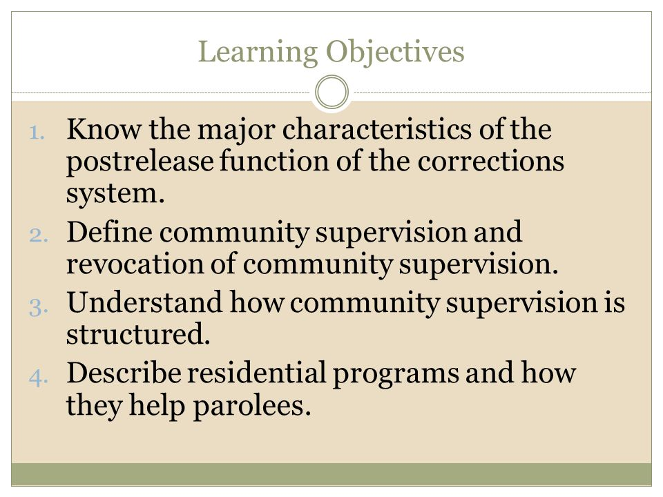 Learning Objectives 1. Know the major characteristics of the postrelease function of the corrections system. 2. Define community supervision and revoc