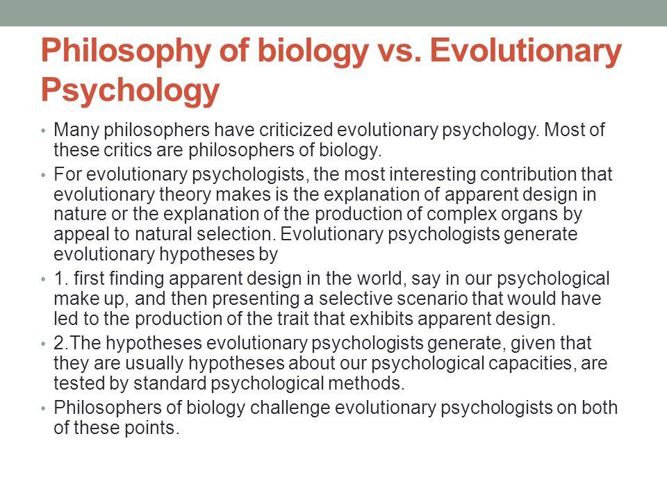 Philosophy of biology vs.
