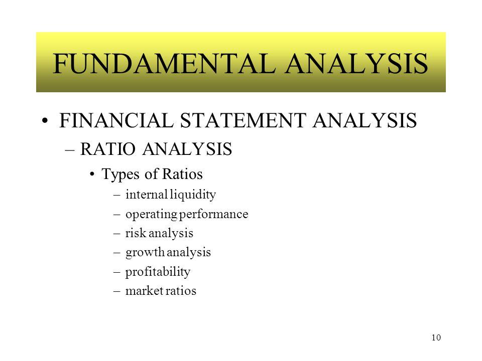 10 FUNDAMENTAL ANALYSIS FINANCIAL STATEMENT ANALYSIS –RATIO ANALYSIS Types of Ratios –internal liquidity –operating performance –risk analysis –growth analysis –profitability –market ratios