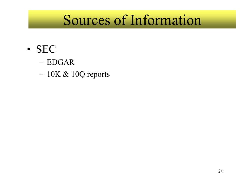 20 Sources of Information SEC –EDGAR –10K & 10Q reports
