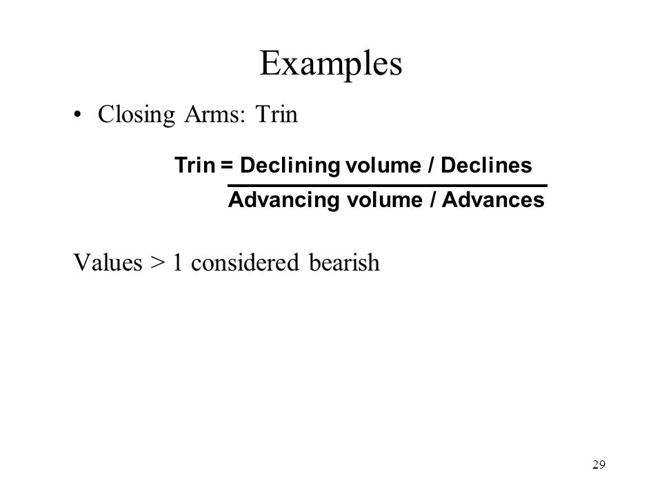29 Examples Closing Arms: Trin Values > 1 considered bearish Trin = Declining volume / Declines Advancing volume / Advances