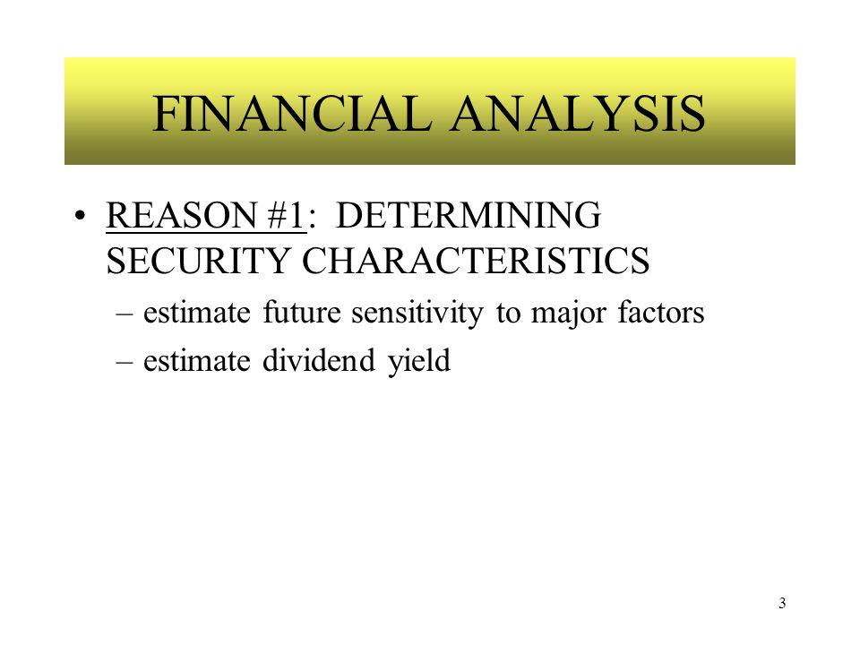 3 FINANCIAL ANALYSIS REASON #1: DETERMINING SECURITY CHARACTERISTICS –estimate future sensitivity to major factors –estimate dividend yield