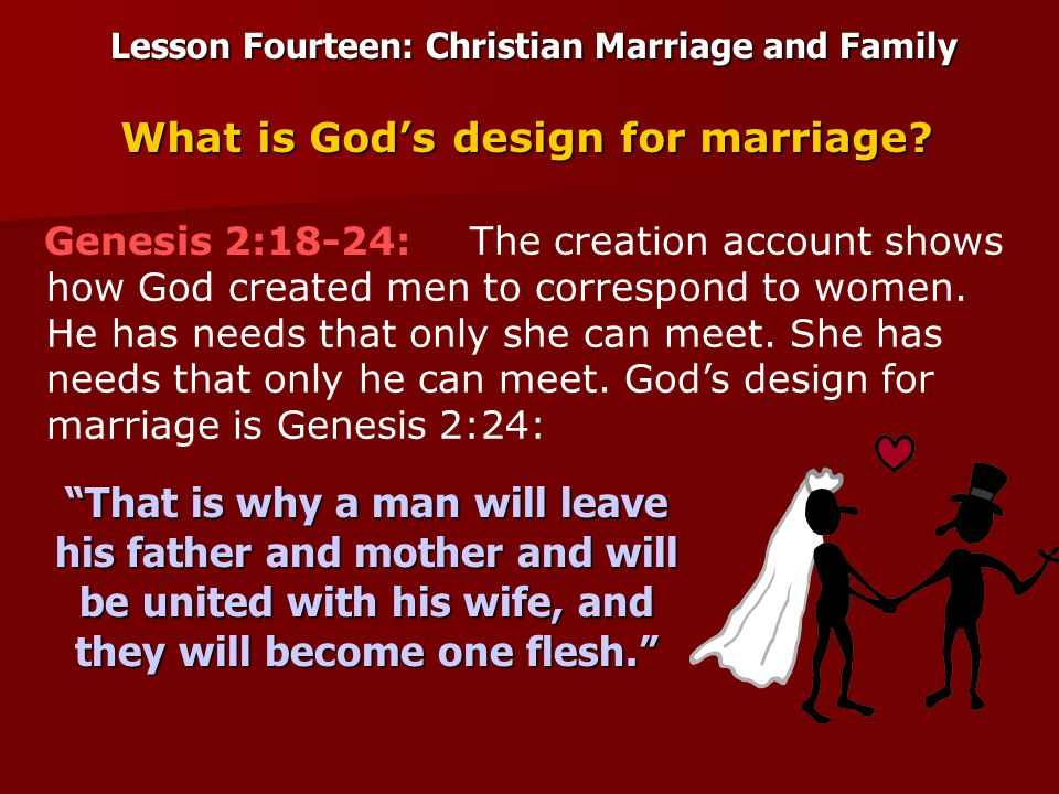 Lesson Fourteen: Christian Marriage and Family From this verse we learn the three ingredients that make a marriage valid: That is why a man will leave his father and mother and will be united with his wife, and they will become one flesh. 1.