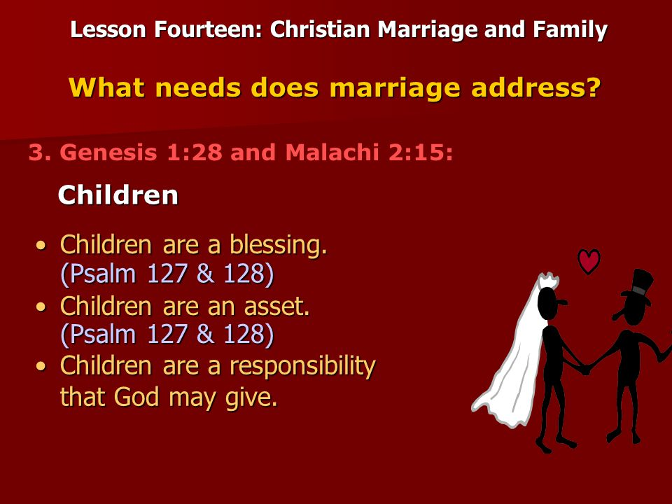 Lesson Fourteen: Christian Marriage and Family Children What needs does marriage address.