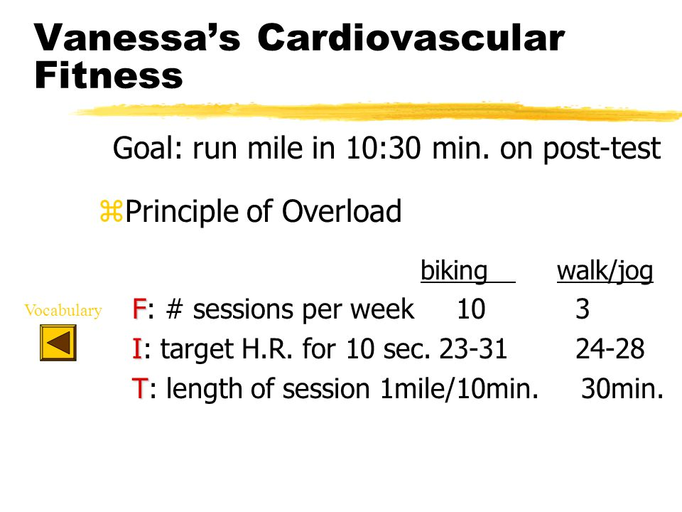 Vanessa's Cardiovascular Fitness Goal: run mile in 10:30 min.
