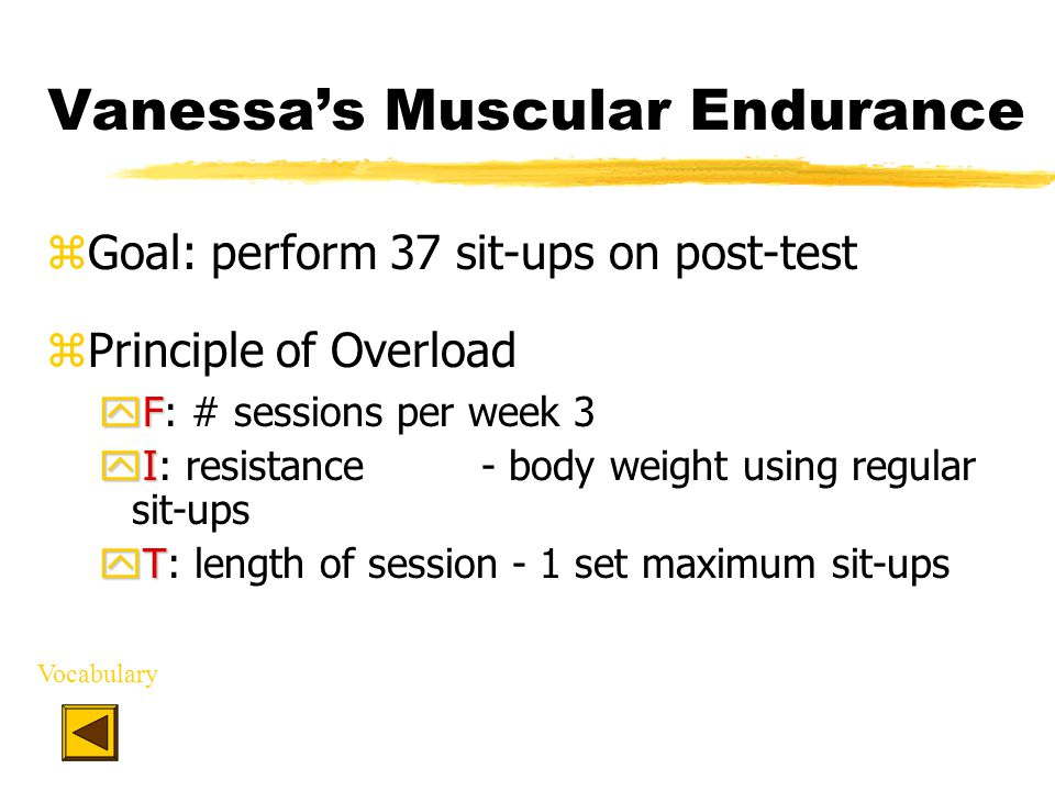 Vanessa's Muscular Endurance zGoal: perform 37 sit-ups on post-test zPrinciple of Overload yF yF: # sessions per week3 yI yI: resistance - body weight using regular sit-ups yT yT: length of session - 1 set maximum sit-ups Vocabulary