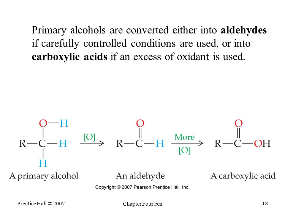 Prentice Hall © 2007 Chapter Fourteen 18 Primary alcohols are converted either into aldehydes if carefully controlled conditions are used, or into car