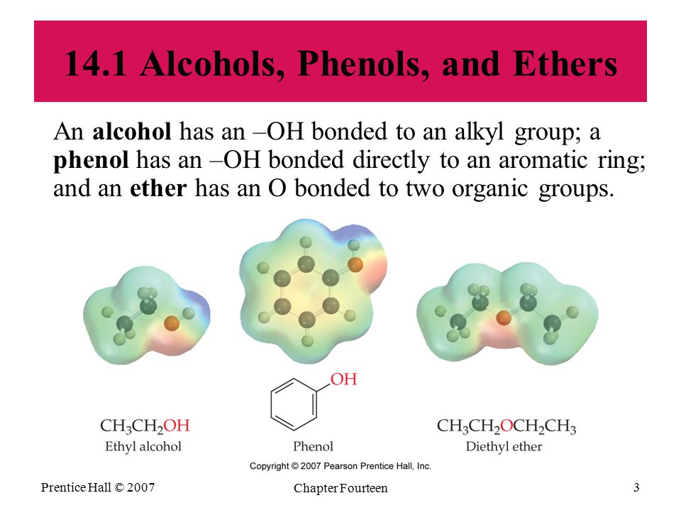 Prentice Hall © 2007 Chapter Fourteen 3 14.1 Alcohols, Phenols, and Ethers An alcohol has an –OH bonded to an alkyl group; a phenol has an –OH bonded