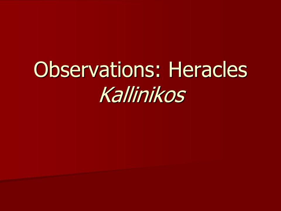 Observations: Heracles Kallinikos
