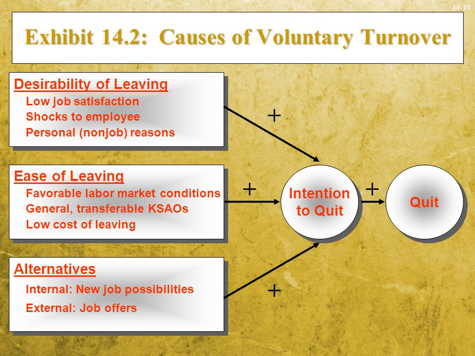 14-10 Exhibit 14.2: Causes of Voluntary Turnover Quit Alternatives Internal: New job possibilities External: Job offers Alternatives Internal: New job