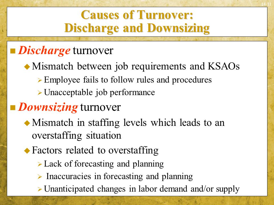 14-11 Causes of Turnover: Discharge and Downsizing Discharge turnover  Mismatch between job requirements and KSAOs  Employee fails to follow rules a