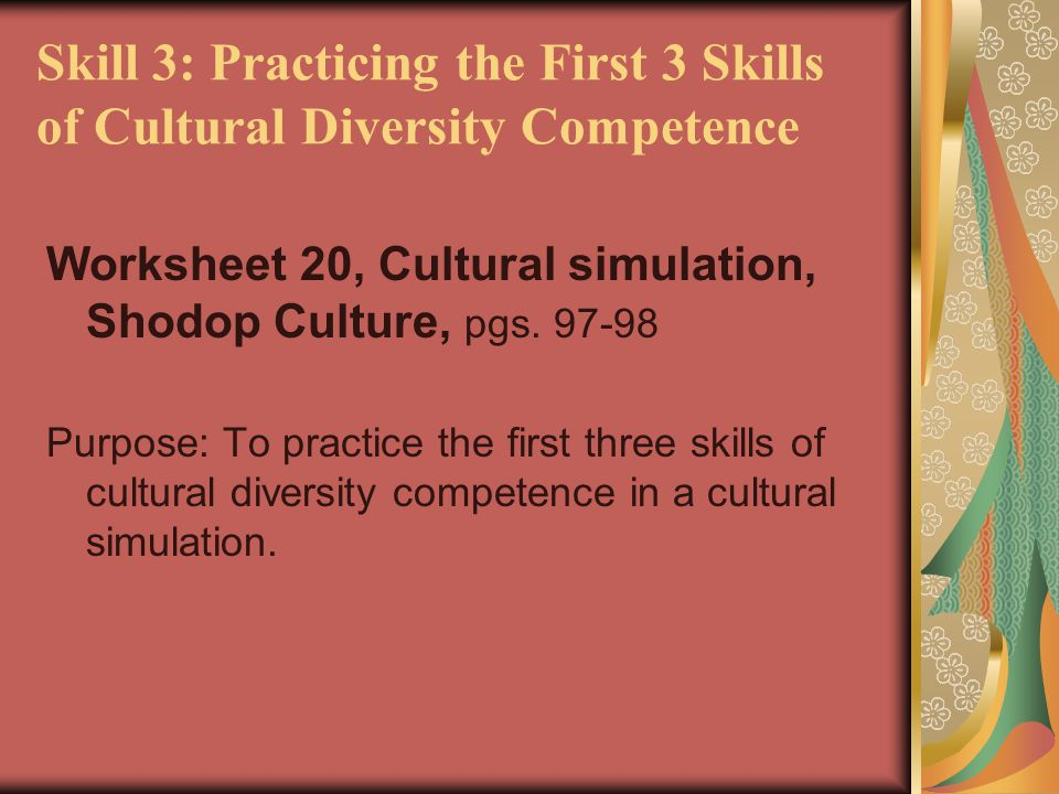 Skill 3: Practicing the First 3 Skills of Cultural Diversity Competence Worksheet 20, Cultural simulation, Shodop Culture, pgs. 97-98 Purpose: To prac