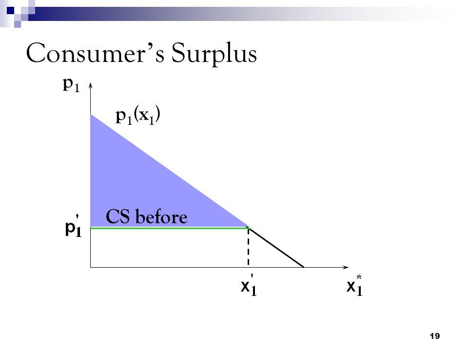19 Consumer ' s Surplus p1p1 CS before p 1 (x 1 )
